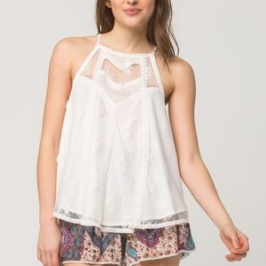 PATRONS OF PEACE Lace Panel Womens Top
